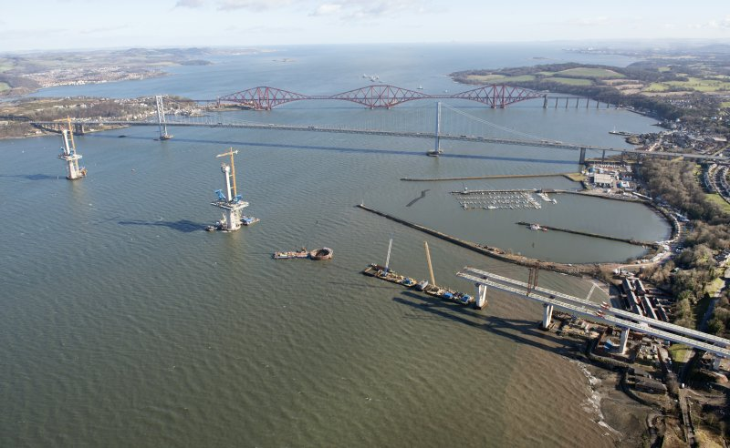 Oblique aerial view of the Queensferry Crossing, Forth Bridge and Forth Road Bridge, looking ENE.