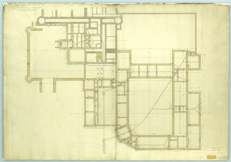 Plan of foundation of new wing and offices showing scarcements and drains, Aboyne Castle.