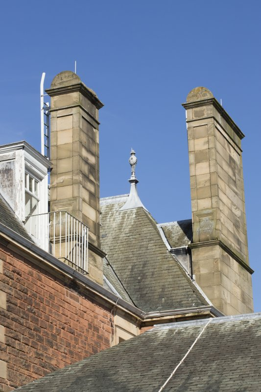Queen's Craig. View of rooftop showing chimneys and finial.