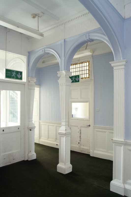 Queen's Craig. Ground Floor. Inner Hall. View of arcade from North East.