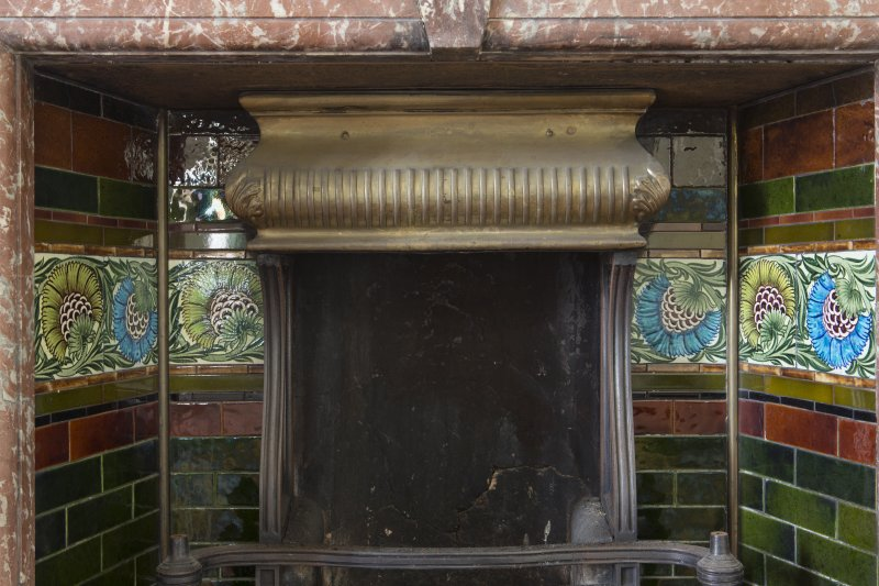 Queen's Craig. Ground Floor. Room 3. Detail of William De Morgan tiles within fireplace.