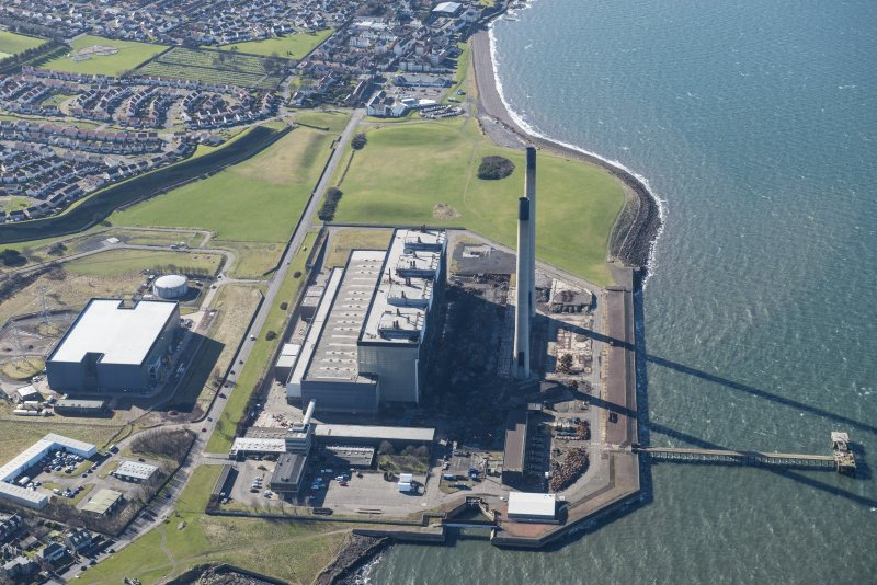 Oblique aerial view of Cockenzie Power Station, looking SW.