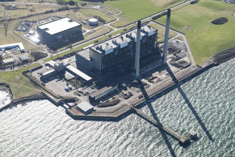 Oblique aerial view of Cockenzie Power Station, looking SSE.