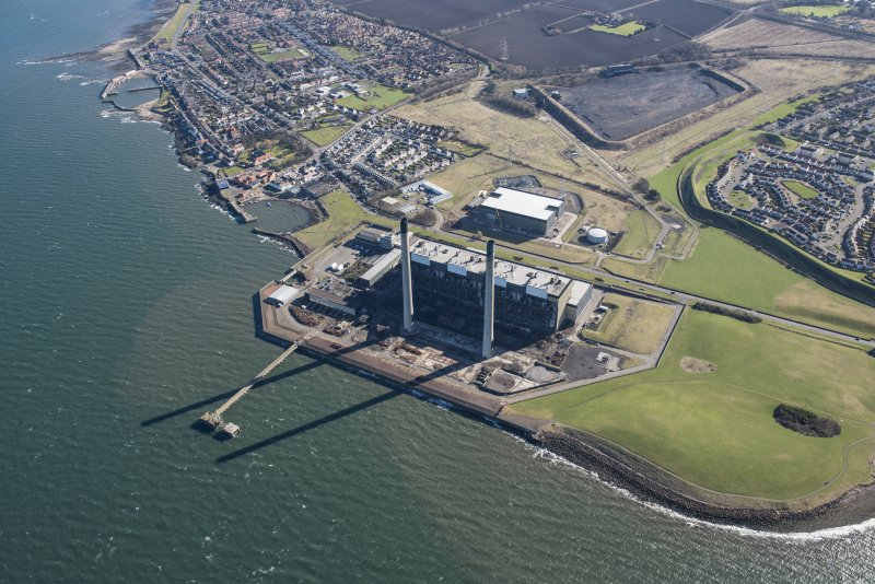 Oblique aerial view of Cockenzie Power Station, looking ESE.