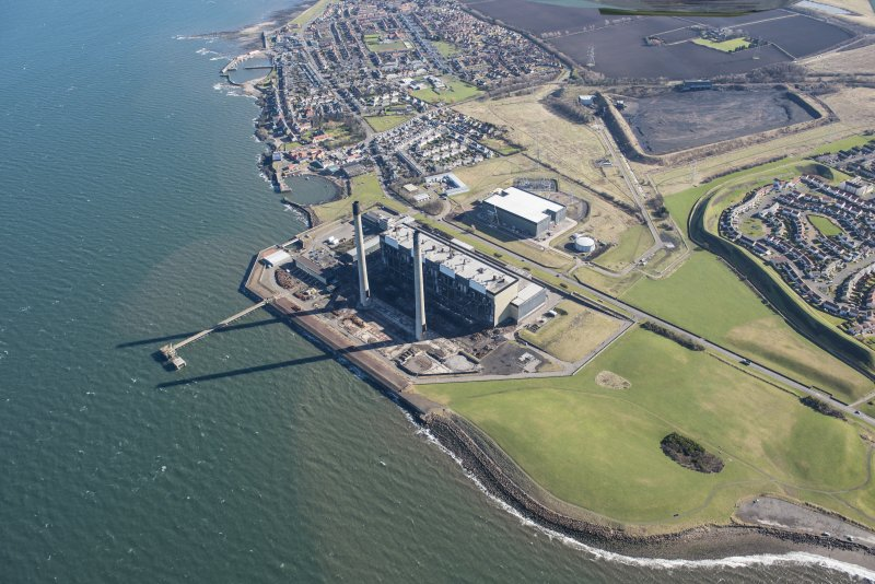 Oblique aerial view of Cockenzie Power Station, looking E.