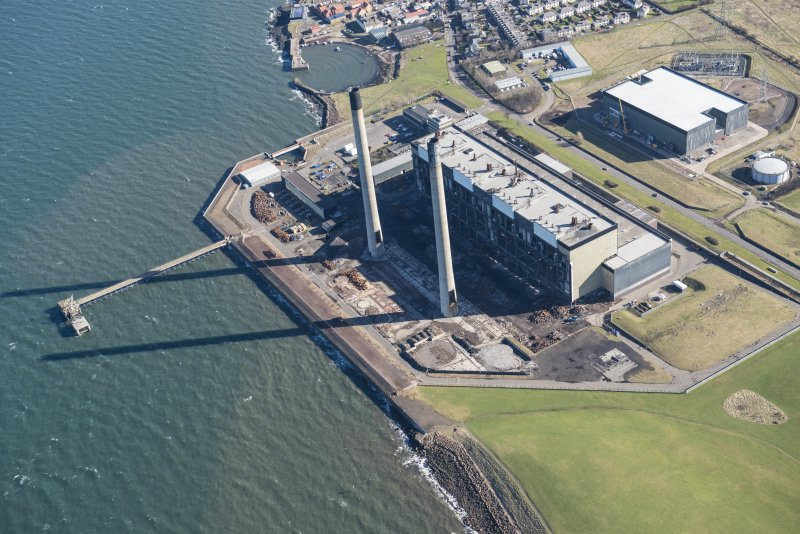 Oblique aerial view of Cockenzie Power Station, looking ENE.