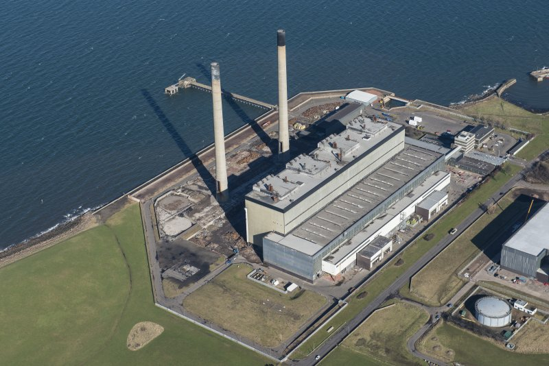 Oblique aerial view of Cockenzie Power Station, looking NNW.