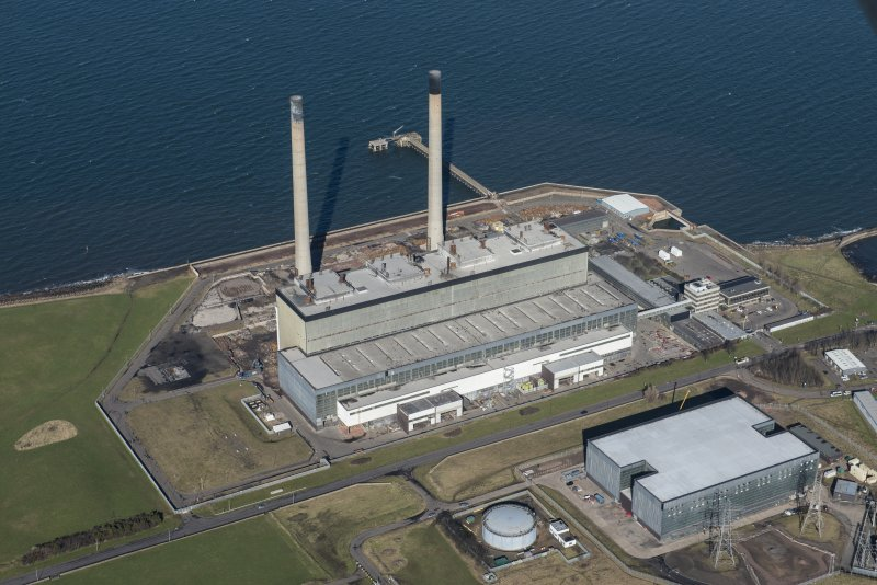 Oblique aerial view of Cockenzie Power Station, looking NW.