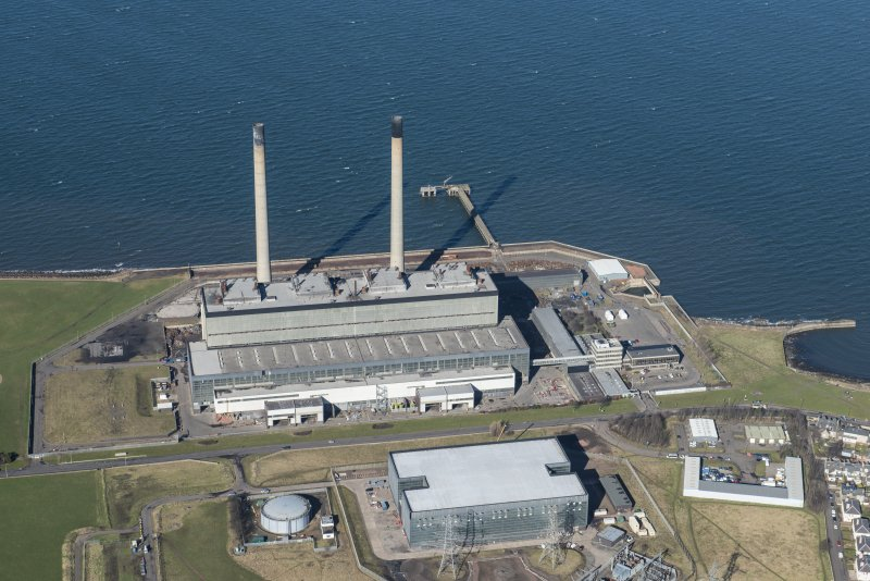 Oblique aerial view of Cockenzie Power Station, looking WNW.