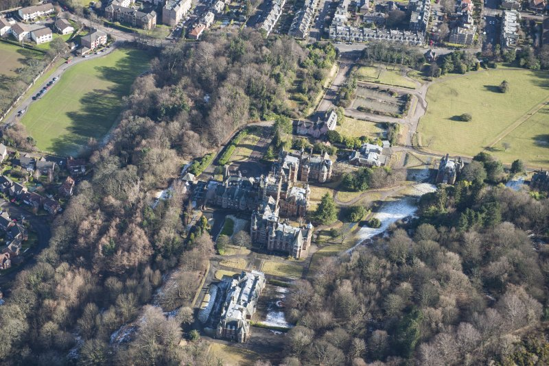 Oblique aerial view of New Craig House, Old Craig House and Queen's Craig House, looking ENE.