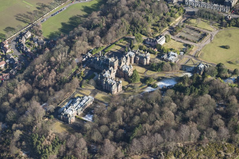 Oblique aerial view of New Craig House, Old Craig House and Queen's Craig House, looking NE.