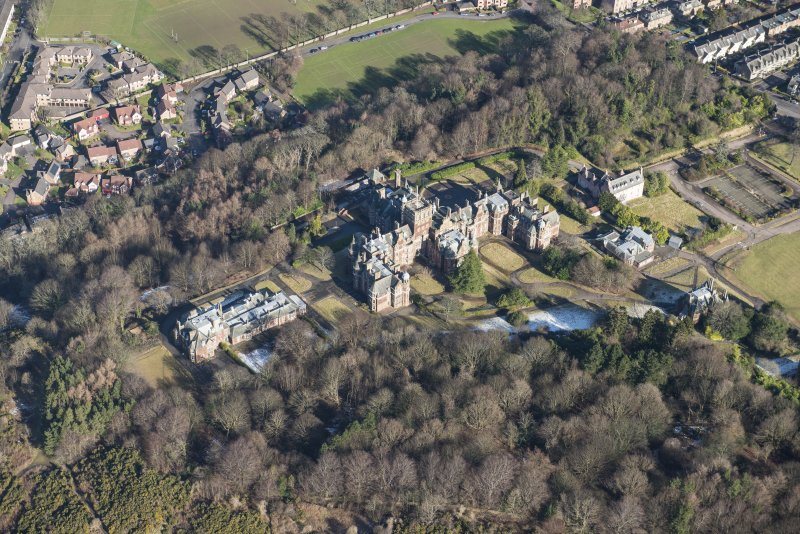 Oblique aerial view of New Craig House, East Craig, Old Craig House and Queen's Craig House, looking NNE.