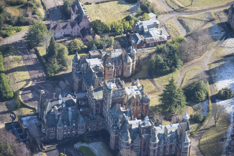 Oblique aerial view of New Craig House, East Craig House and Old Craig House, looking ESE.