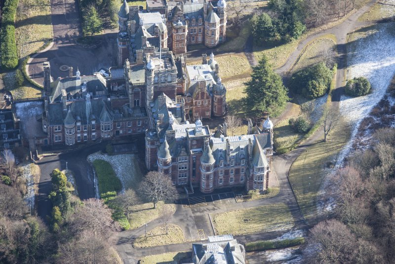 Oblique aerial view of New Craig House, looking S.