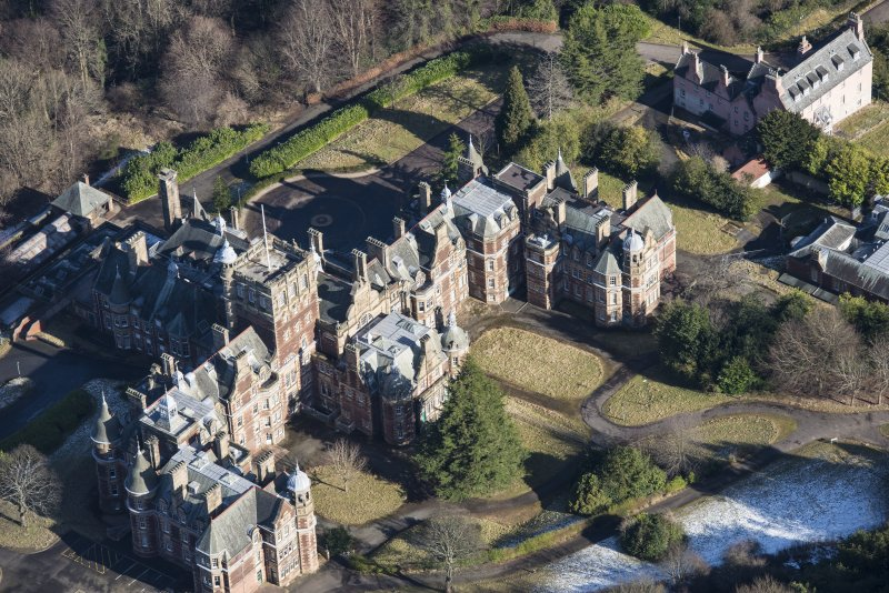 Oblique aerial view of New Craig House and Old Craig House, looking NE.