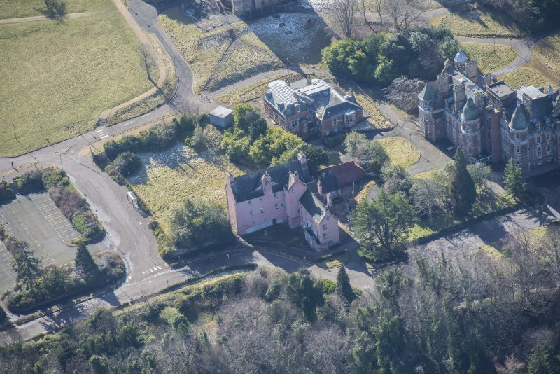 Oblique aerial view of Old Craig House and East Craig House, looking SSW.