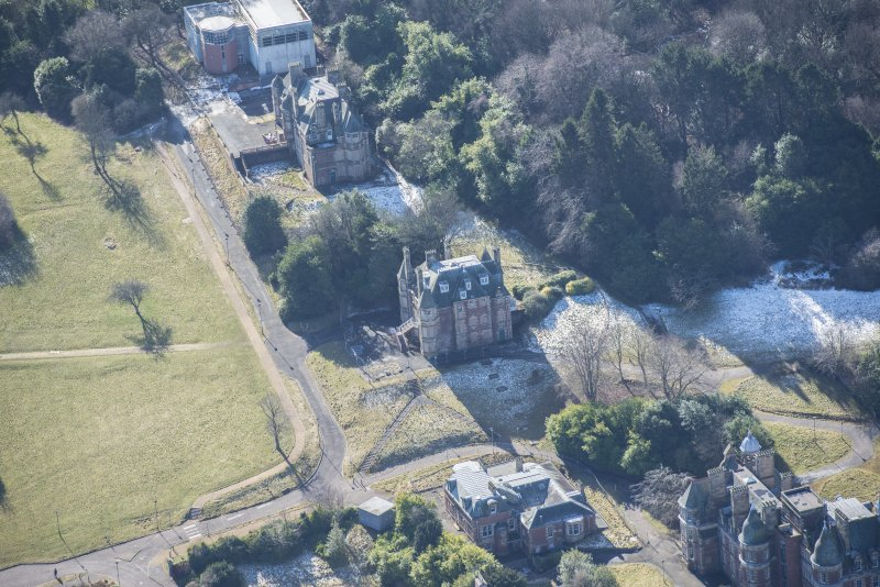Oblique aerial view of South Craig House, Bevan House and East Craig House, looking WSW.