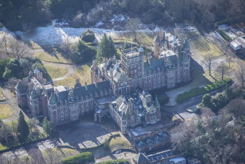 Oblique aerial view of New Craig House, looking SSW.