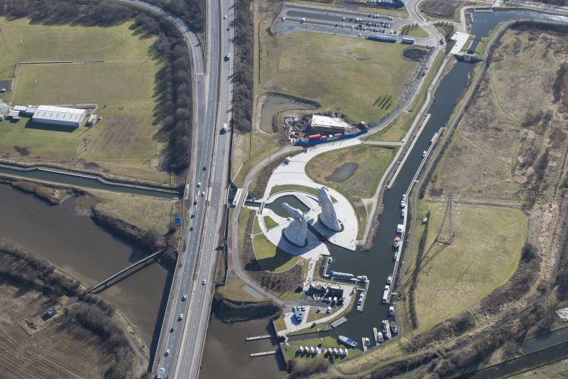Oblique aerial view of The Kelpies, looking SE.
