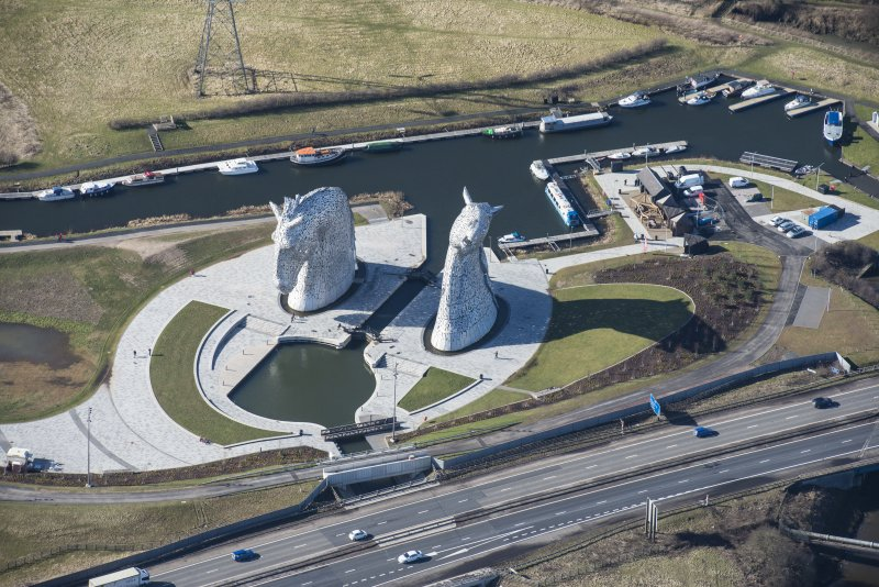Oblique aerial view of The Kelpies, looking WSW.