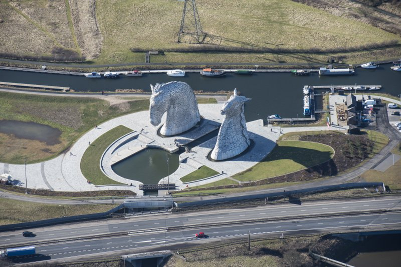 Oblique aerial view of The Kelpies, looking W.