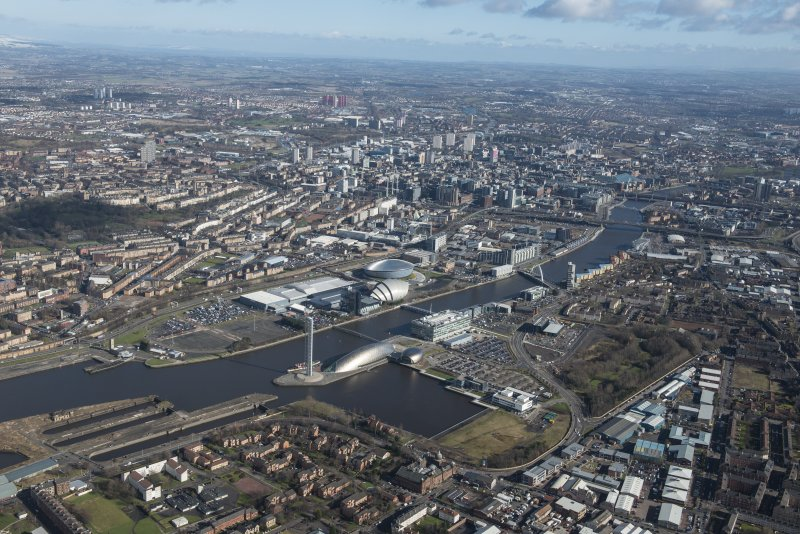 General oblique aerial view of Glasgow centred on the River Clyde and Science Park, looking NE.
