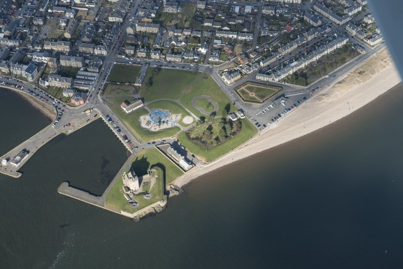 Oblique aerial view of Broughty Ferry  Harbour and Broughty Castle, looking NE.