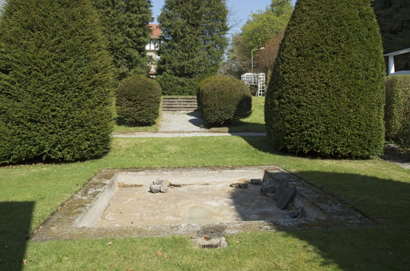 Garden with pond, view from south