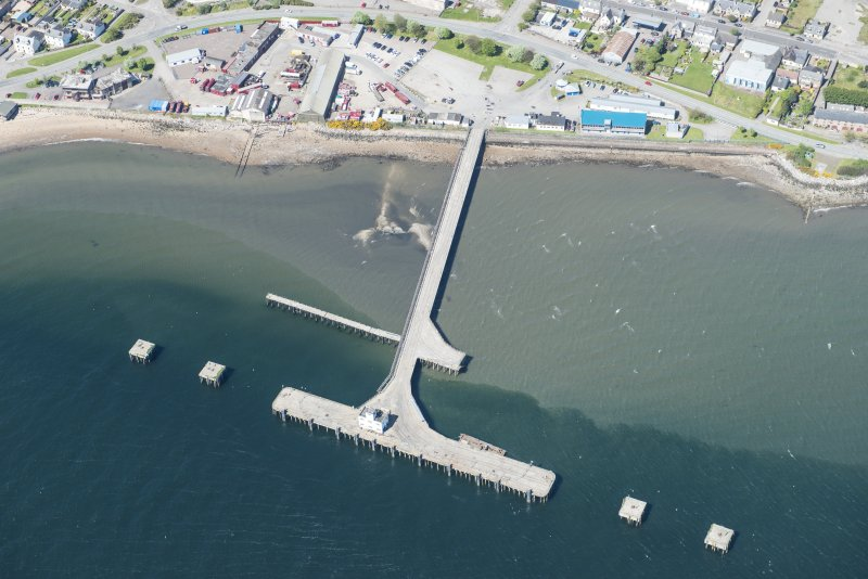 Oblique aerial view of Invergordon pier, looking WNW.