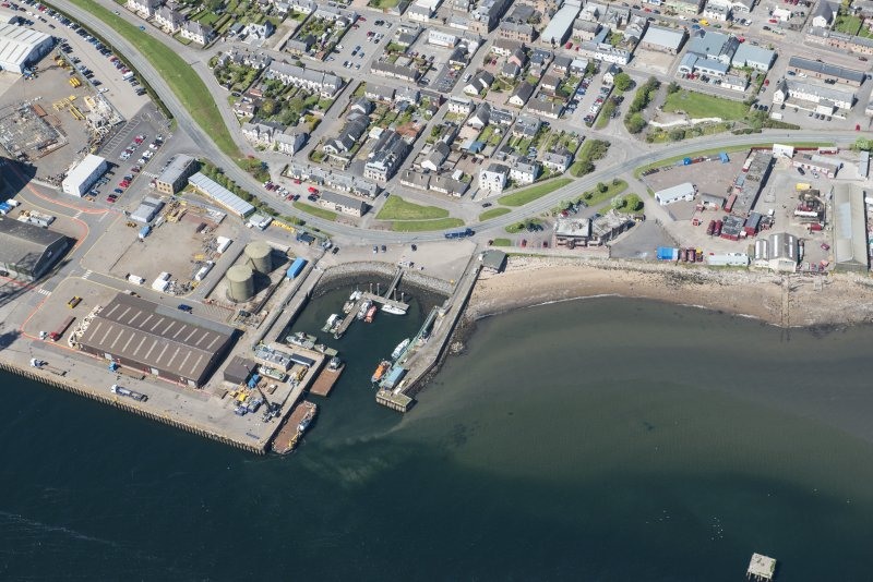 Oblique aerial view of Invergordon harbour, looking NNW.