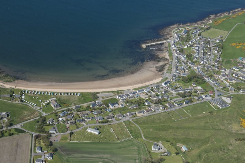 Oblique aerial view of Portmahomack, looking NNW.