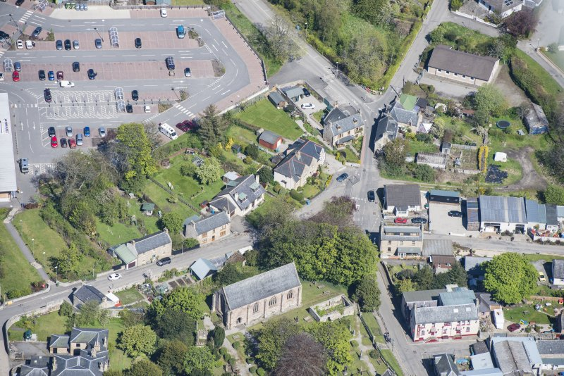 Oblique aerial view of St Duthus's Collegiate Church in Tain, looking NNE.