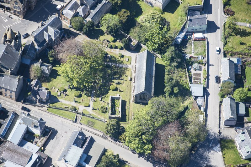 Oblique aerial view of St Duthus's Collegiate Church in Tain, looking W.
