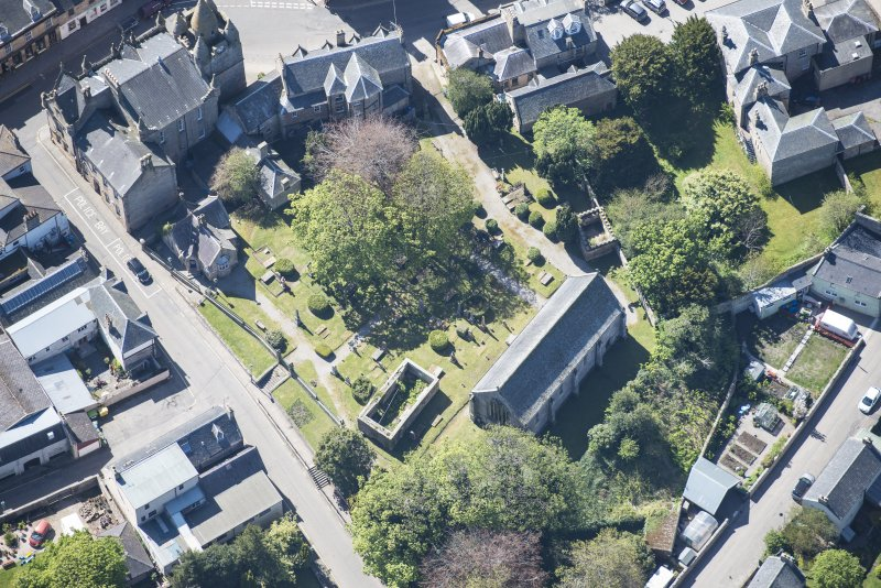 Oblique aerial view of St Duthus's Collegiate Church in Tain, looking NW.