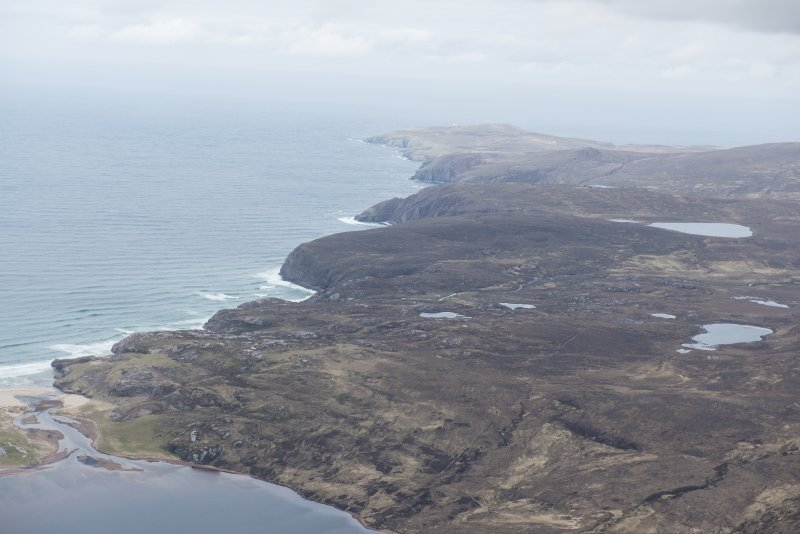 General oblique aerial view of the coast from Sandwood Bay to Cape Wrath, looking NNE.