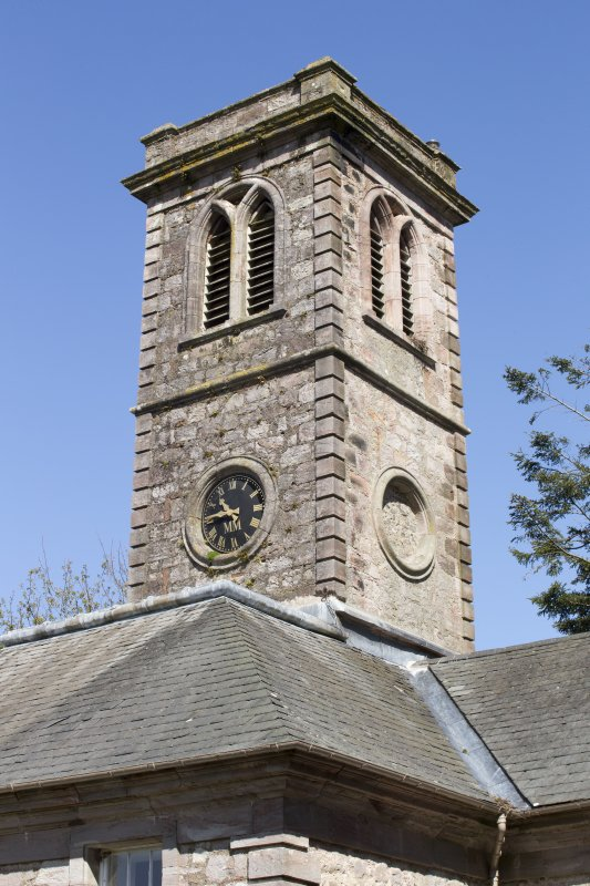 Durisdeer Parish Church. View of clock tower from South East.