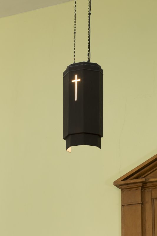 Durisdeer Parish Church. Detail of light fitting above pulpit.