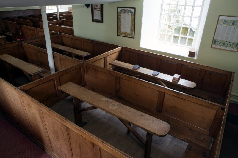 Durisdeer Parish Church. South Aisle View of box pews from South West.