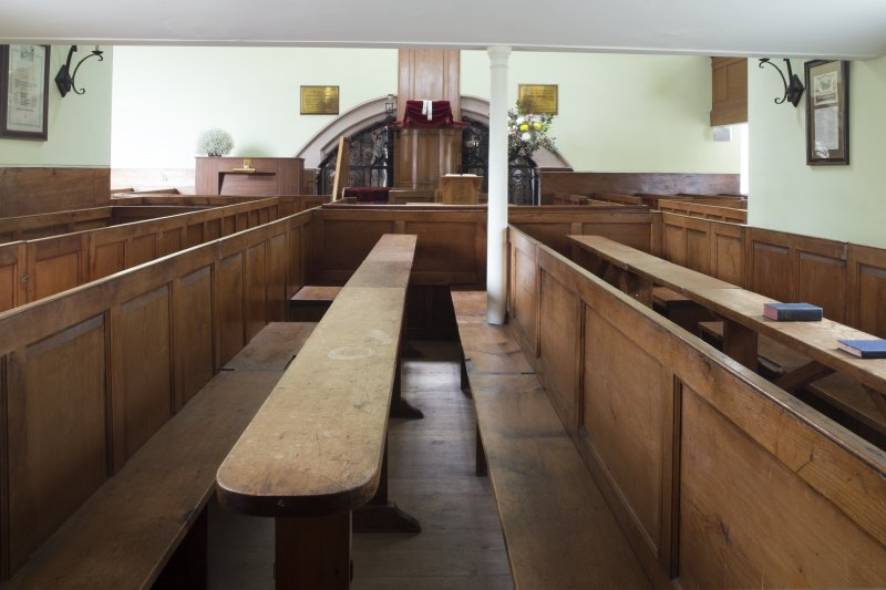 Durisdeer Parish Church. South Aisle View of communion box pews converted into communion tables.