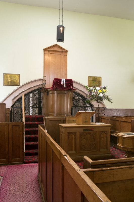 Durisdeer Parish Church. View of pulpit from South West..