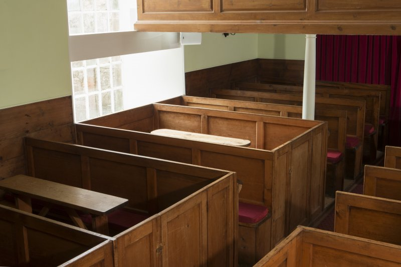 Durisdeer Parish Church. View of box pews from North East.