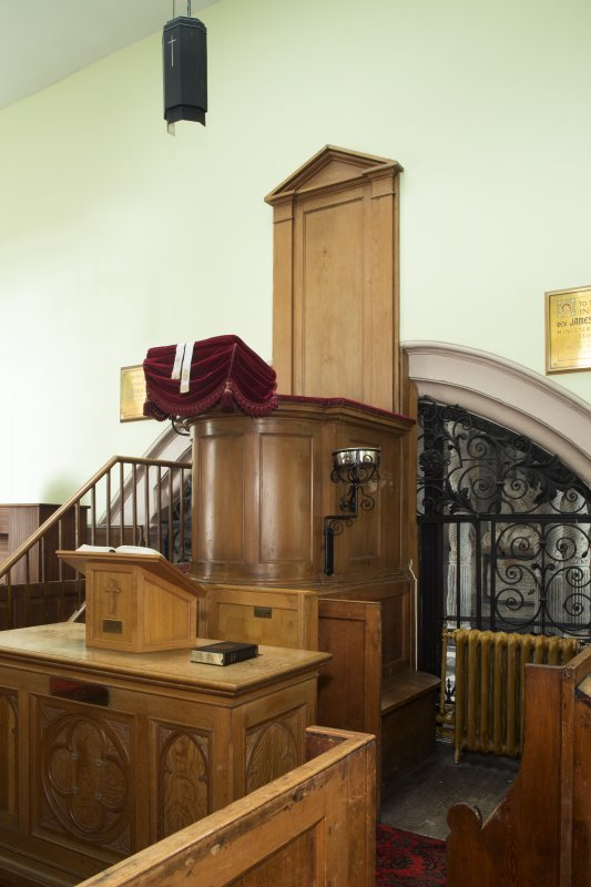 Durisdeer Parish Church. View of pulpit from South East.