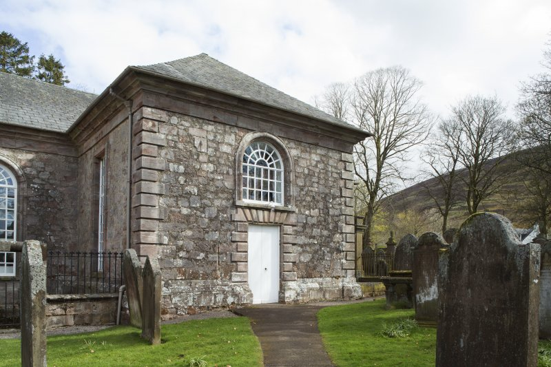 Durisdeer Parish Church. View of entrance on South elevation.