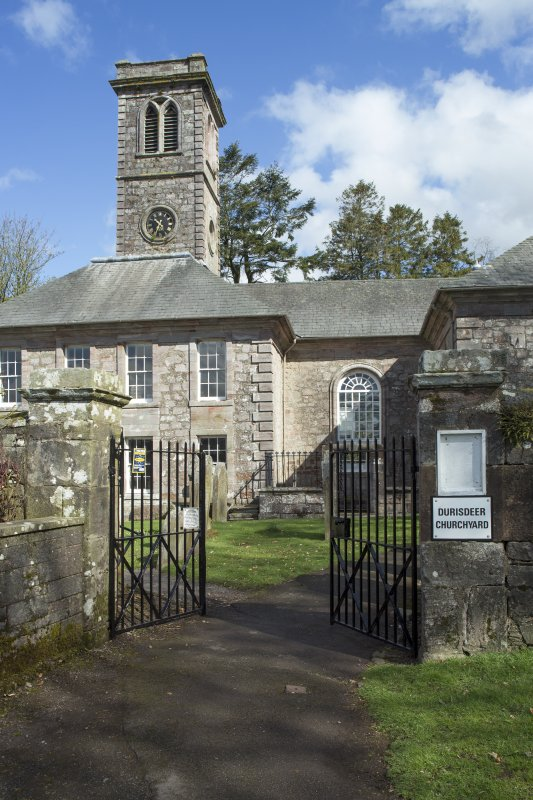 Durisdeer Parish Church. View of entrance gates from South.