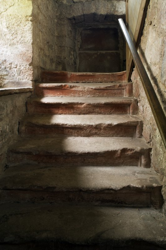Durisdeer Parish Church. Session House. Ground Floor. Detail of worn steps on stone staircase.
