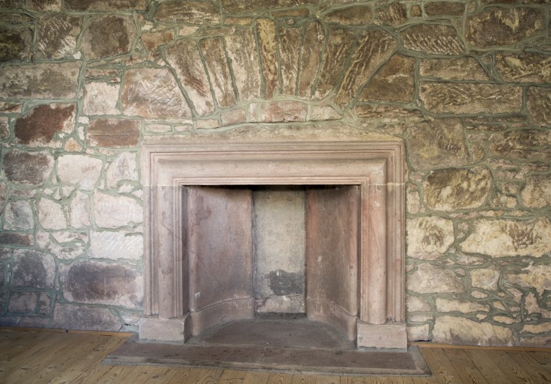 Durisdeer Parish Church. Session House. First floor. Kitchen. Detail of fireplace.
