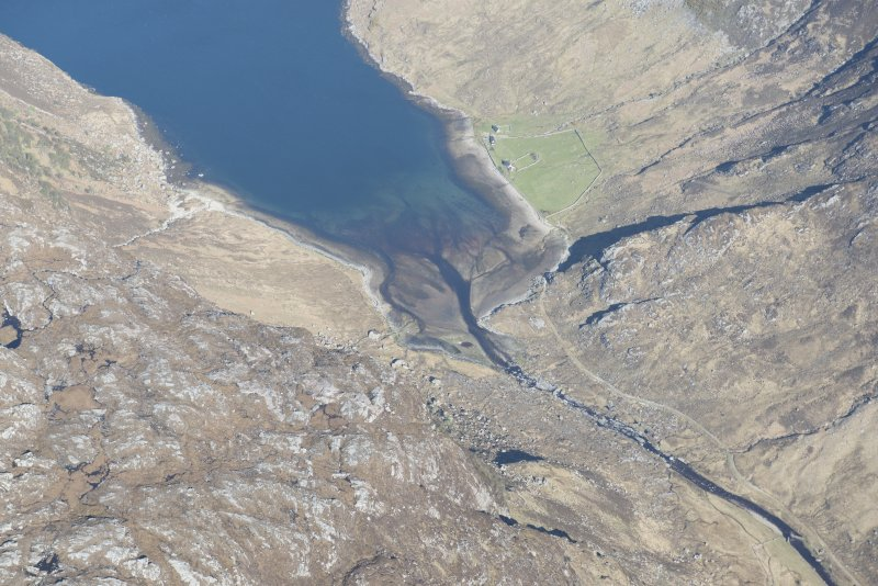 Oblique aerial view of a fish trap at the head of Loch Glendhu, looking NW.