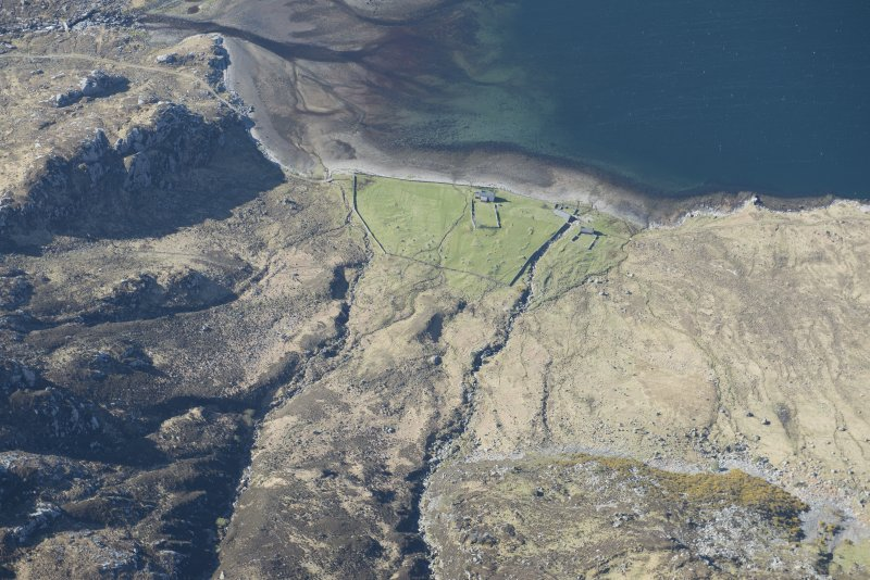 Oblique aerial view of a fish trap at the head of Loch Glendhu, looking S.