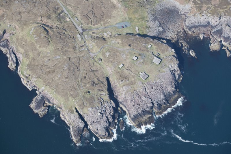 Oblique aerial view of Rubha nan Sasan gun emplacement, looking W.