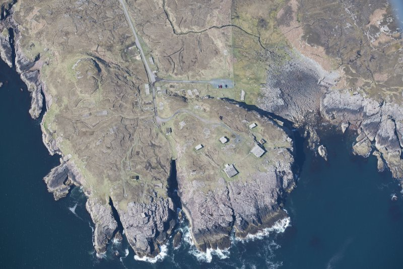 Oblique aerial view of Rubha nan Sasan gun emplacement, looking WSW.